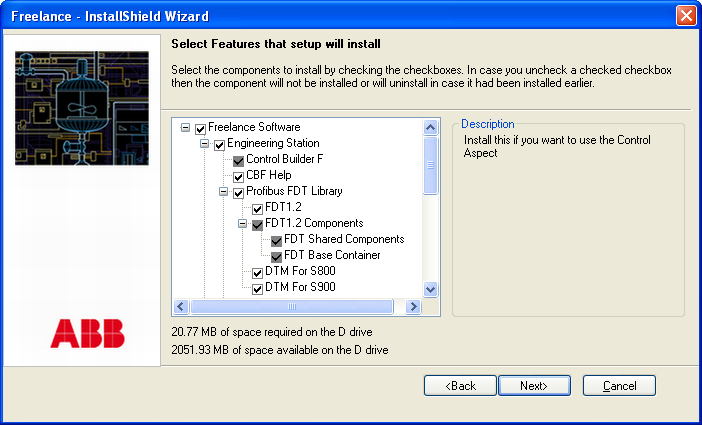 Modify option Section 2 Freelance Installation Modify option This option can be used to add or remove components of the Freelance software.