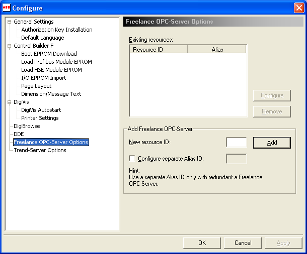 Settings for DDE Section 2 Freelance Installation Settings for DDE Resource ID Several software packages can be run at the same time on a PC.