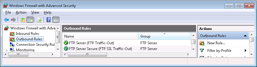 Section 2 Freelance Installation Testing the FTP Server FTP Outbound FTP Rules Windows 7.
