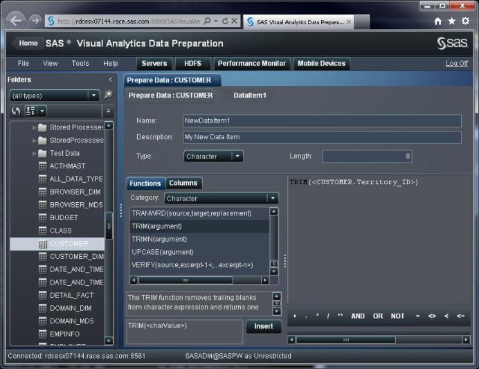 SAS Visual Analytics Data Preparation SAS Visual Analytics Data Preparation Daten-Vorbereitung