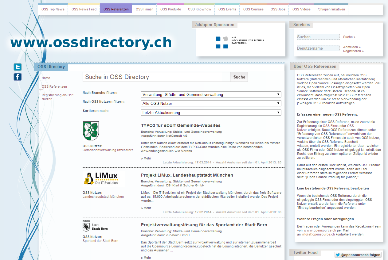 OSS Directory Deutschsprachiges Verzeichnis von Open Source Anbietern Open Source Projekten (Produkte) Open Source Referenzen Open