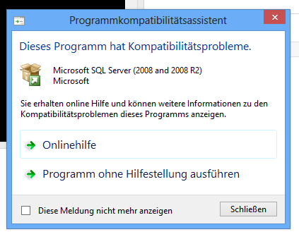 Installation MSSQL 2008 Express SP3 auf Windows 8 28.01.
