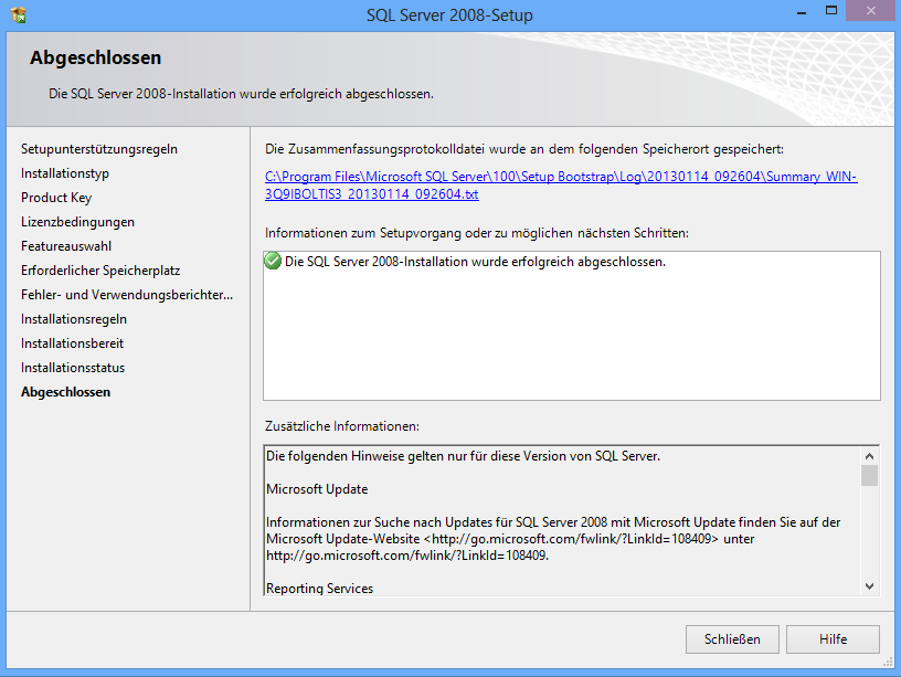 Installation MSSQL 2008 Express SP3 auf