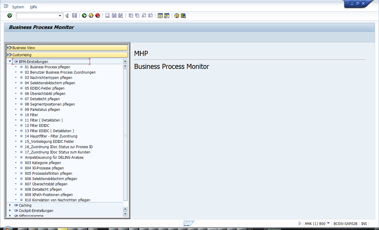 MHP AddOn Business Process Monitor Das MHP AddOn (offline) Customizing - Überblick