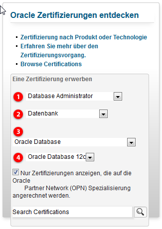 Oracle Certified Professional (OCP) durch Test nachgewiesene technische Fähigkeiten Oracle Database (12c, 11g, 10g, 9i, EM, MySQL) Oracle Middleware (Java, PL/SQL, AS, WL, SOA) Oracle Applications
