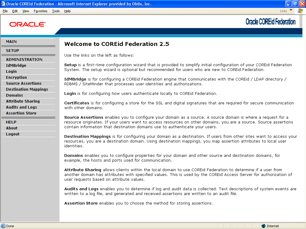 COREid Federation Features Administration GUI Setup Configuration Partner Management