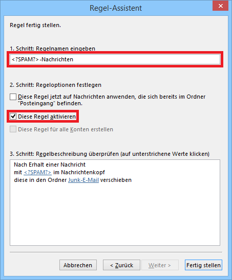 regel erstellen windows mail