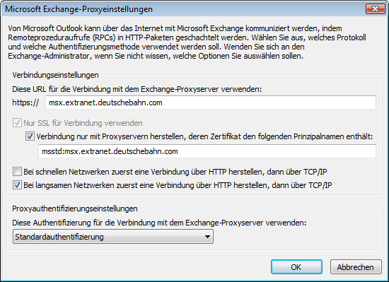 4.6 Schritt 6: Konfigurieren der Exchange Proxy Settings Press the button Exchange-Proxyeinstellungen and fill out the following settings: Use this URL to connect to my proxy server for Exchange