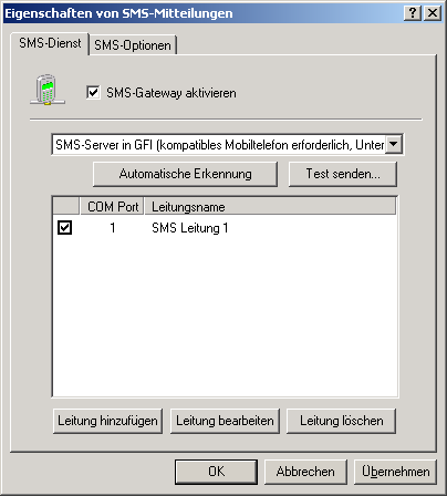Screenshot 100: Konfigurieren des GFI-SMS-Servers 3.