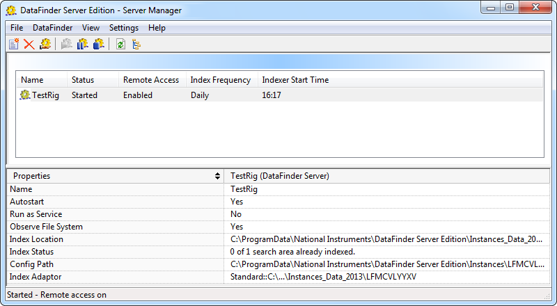 Chapter 1 Creating and Connecting DataFinder Servers 10. Click Finish to close the dialog box. The server manager displays the new DataFinder server, as shown in the following figure. Figure 1-3.
