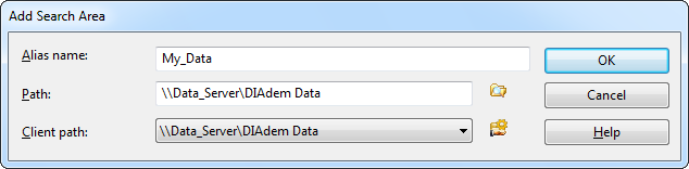 Chapter 1 Creating and Connecting DataFinder Servers 3. Click Add Search Area to specify a search area. Search areas are the file system folders where clients can search for data files. 4.