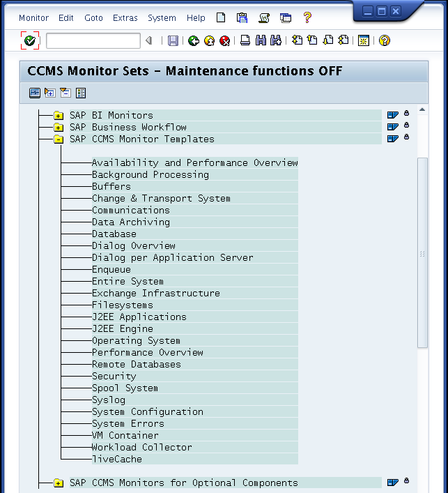 "CCMS-Baum auflisten dann die Monitore $ check_sap_health --mode list-ccms-monitors \ --name ""SAP CCMS Monitor Templates"" SAP CCMS Monitor Templates Availability and Performance Overview Background"