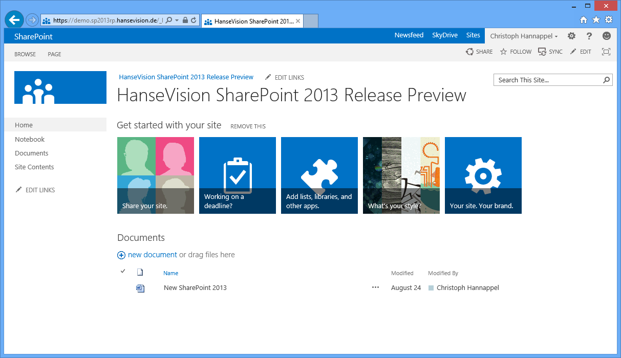 SharePoint 2013 Team Site 15 Hamburg