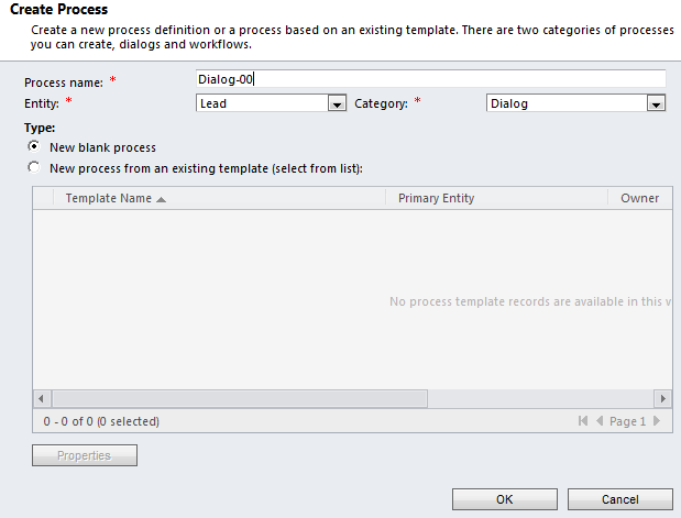 Enter the Dialog properties and click OK: Create a Page