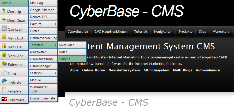 66 CyberBase Content Management System Plug-ins ansehen Shortcodes ansehen 8.