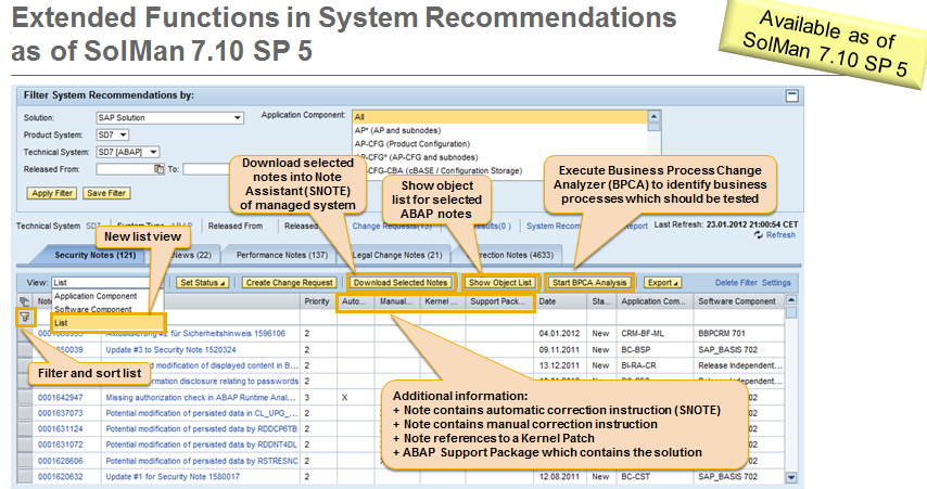 Erweiterte Funktionen in der System Recommendations ab SAP Solution Manager 7.
