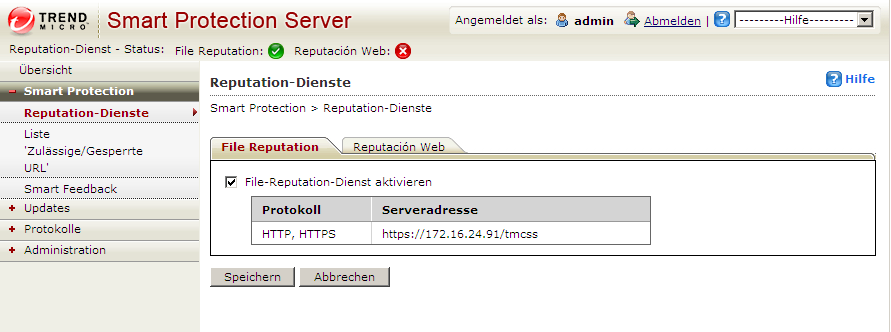 Trend Micro Smart Protection Server 2.0 Administratorhandbuch Smart Protection verwenden Diese Version des Smart Protection Servers enthält File-Reputation- und Web-Reputation- Dienste.