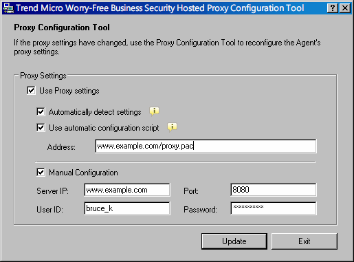 Trend Micro Worry-Free Business Security Hosted Administratorhandbuch ABBILDUNG 3-23. Worry-Free Business Security Hosted Agent Proxy Configuration Tool 3.