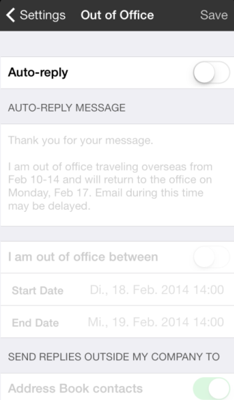 1 und Android 4.4 Email Conversation Mode (ios, Android 4.