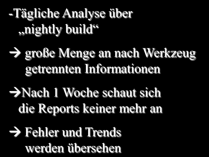 Seite 22 State of the art : Integration in HUDSON Motivation für Health4J -Tägliche Analyse über nightly build große Menge an