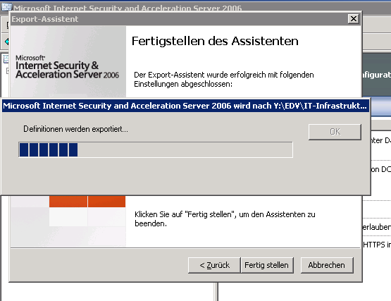 Export der ISA Server 2006