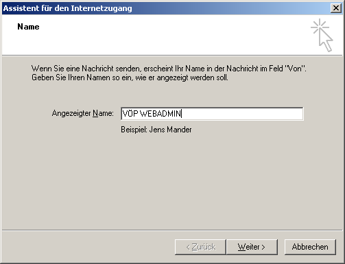 2. Outlook Express Die Konfiguration des Mailkontos in Outlook Express gestaltet sich sehr