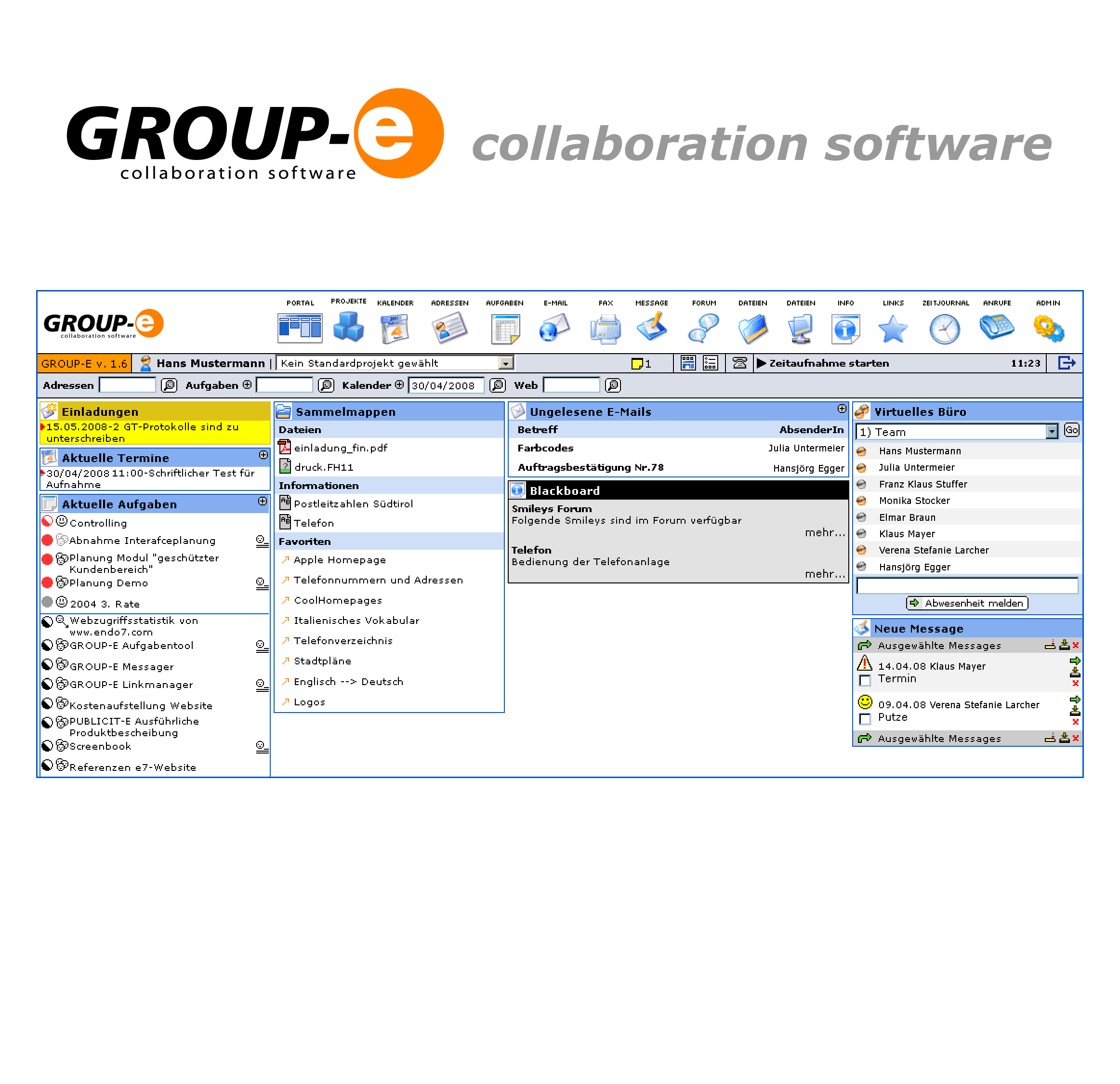 Effiziente Teamarbeit durch webbasierte Collaboration Software GROUP-E ist die effiziente Basis für optimale Teamarbeit.