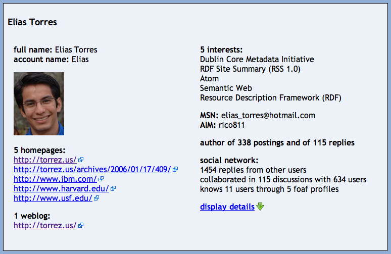 Figure 3: An example user profile with extracted social relations programmatic objects.