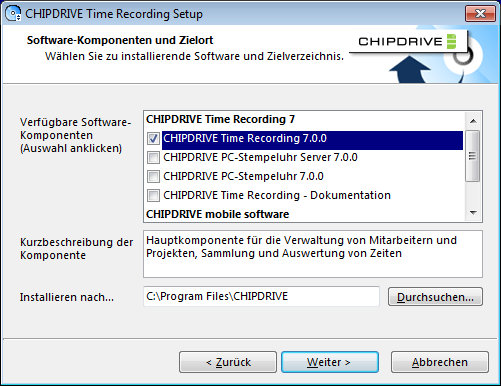 CHIPDRIVE Time Recording 1 Time Recording erste Schritte 1.