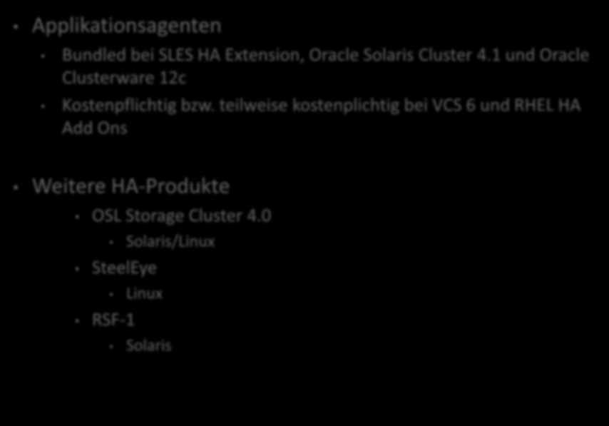 Anmerkungen/Diverses. Applikationsagenten Bundled bei SLES HA Extension, Oracle Solaris Cluster 4.