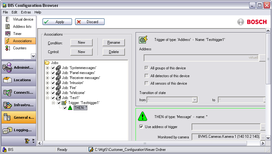 Bosch Video Management System Configuring BIS en 33 The following screenshot shows an example configuration for an alarm trigger that displays a video image