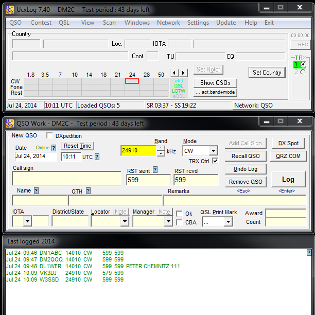 Start: QSO-Fenster in allen PC starten, dann Network starten.