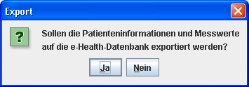 4.12.3 4. Hypertension Management Software Client-Server 4.12.3 Patienten auf den e-health Server exportieren Klicken Sie auf Das Fenster Patientenliste erscheint Klicken Sie auf Patient exportieren