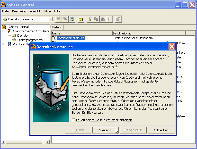 Office Manager Enterprise oder Client/Server (ab Version 6.0.3.170) Datenbanken auf Sybase SQL-Anywhere A.