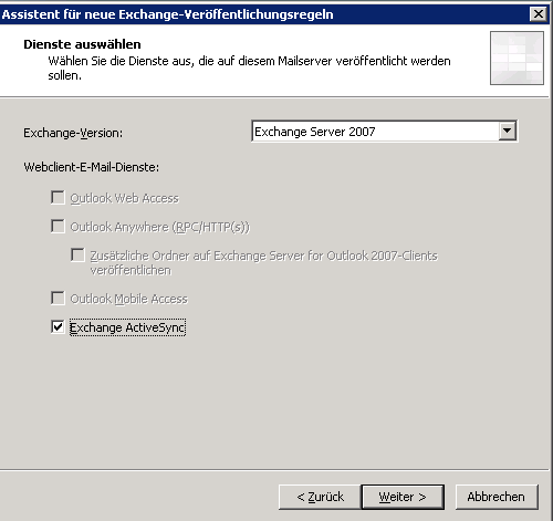 Exchange Server 2010 Active Sync ueber