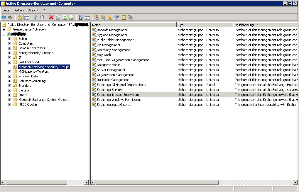 Exchange 2010 Remote Powershell und Active Directory Restricted Groups Bei der Installation von Exchange Server 2010 werden verschiedene Exchange universelle Gruppen