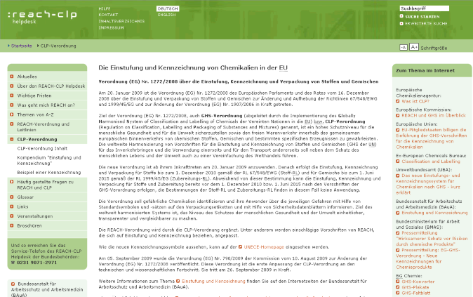 ECHA: Guidance on the CLP Regulation Einführende Leitlinien Guidance on the Application of the CLP