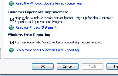 Improvement Program (Programm zur Verbesserung der Benutzerfreundlichkeit) Configure Windows error reporting (Windows-Fehlerberichterstattung konfigurieren) Abb.