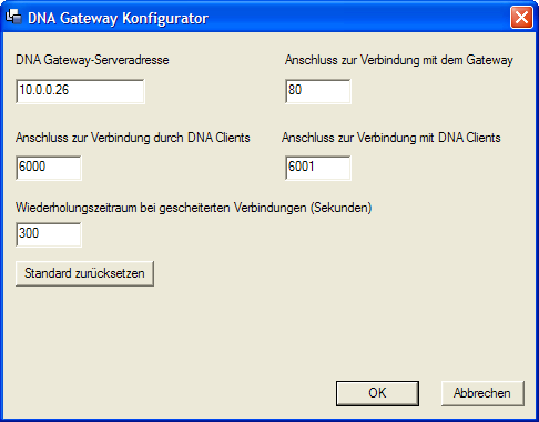 DNA Gateway-Serveradresse Geben Sie die IP-Adresse des Server Gateways ein.