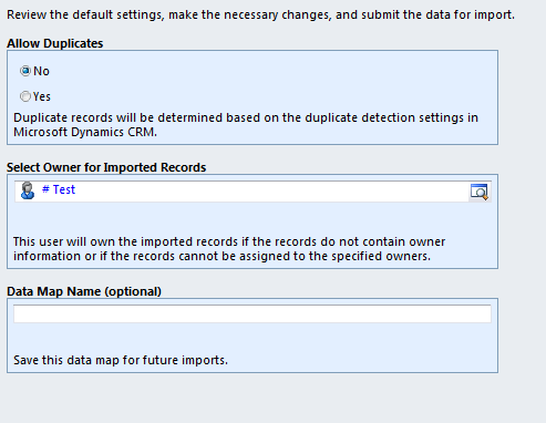 Click Next on Review Mapping Summary screen, review the settings and click Submit: Check that the data