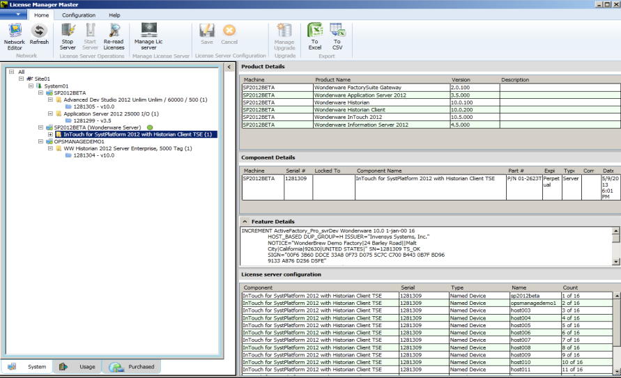 Server Lizenz Management Installed Products Tree View