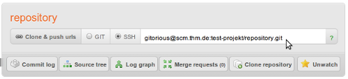 $ git checkout master $ git remote add origin gitorious@scm.thm.de:test-projekt/repository.