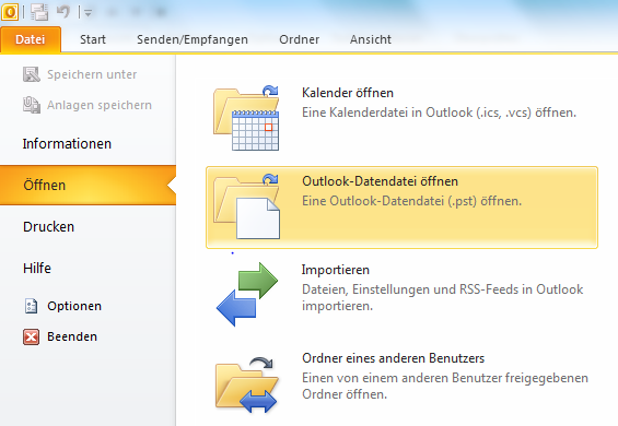3.5 Archivdaten von Outlook (.