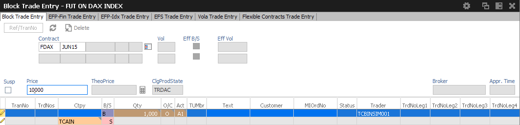 GUI-Funktionsumfang Eurex-Trade-Entry-Services Block Trades Eingabefenster Block Trades Entry Ein Block Trade kann geändert