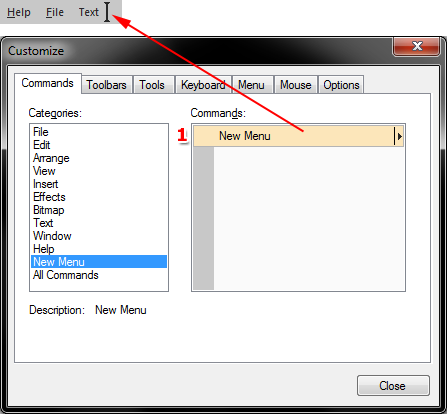 42 In the dialog select under 'C ategories' the item 'New menu' (1).