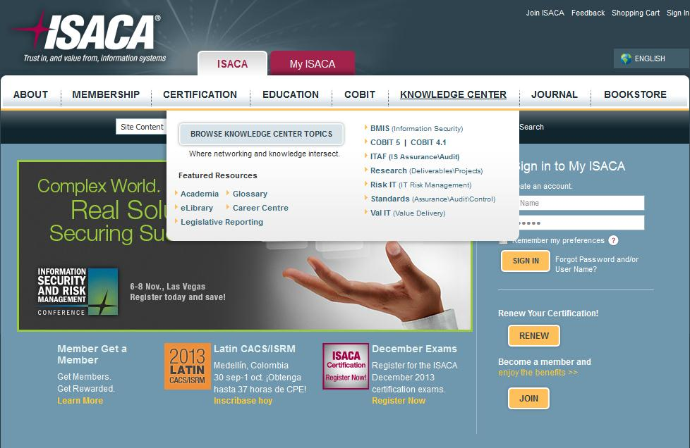 ISACA Knowledge Center http://www.isaca.