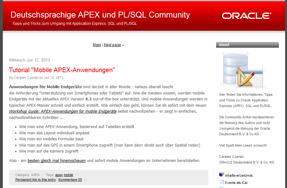 Informationen in deutscher Sprache Communities APEX Community DBA Community