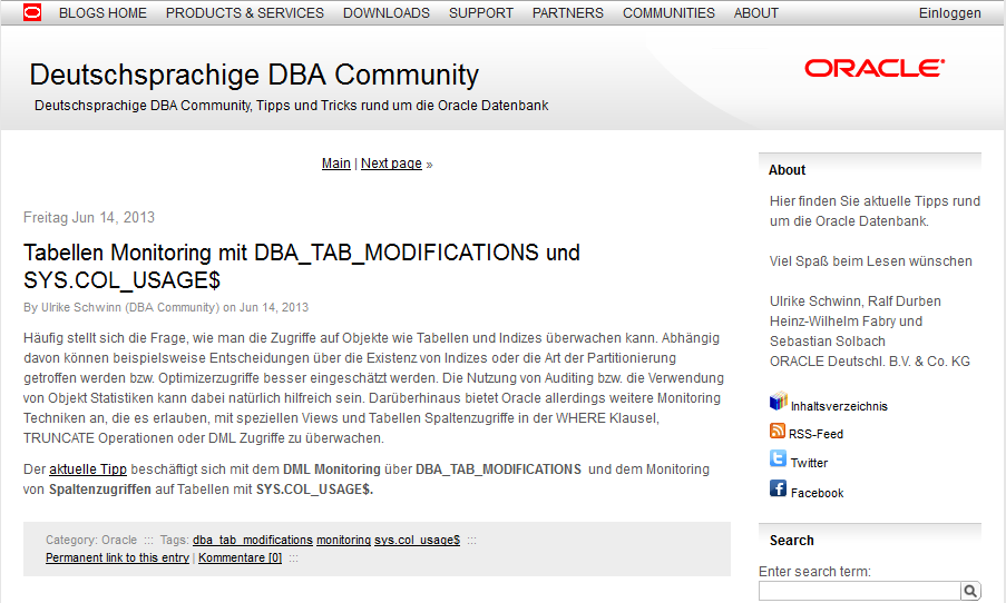 "Informationen in deutscher Sprache Tipp ""Oracle Database 12c ist verfügbar"" Communities DBA"