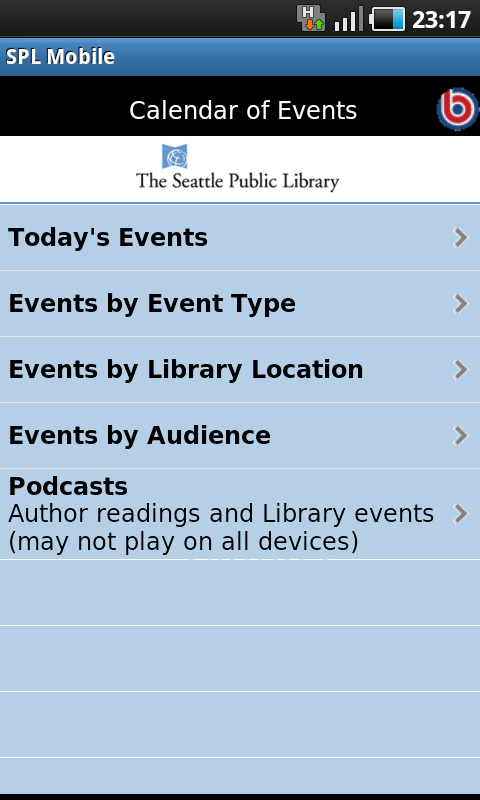 Calendar of Events -> Events by Audience (vgl. Abb.