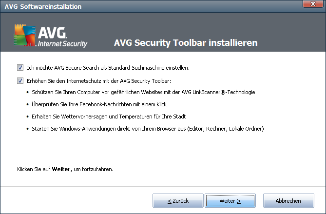 3.5. AVG Security Toolbar installieren Entscheiden Sie im Dialog AVG Security Toolbar installieren, ob Sie die AVG Security Toolbar installieren möchten.